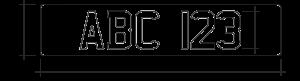 MiniRetro Personal Registration Plate Dimensions